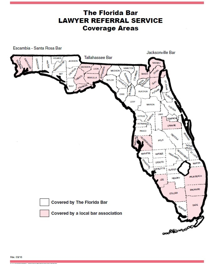 The Florida Bar Lawyer Referral Service Coverage Areas