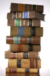 Law books stack