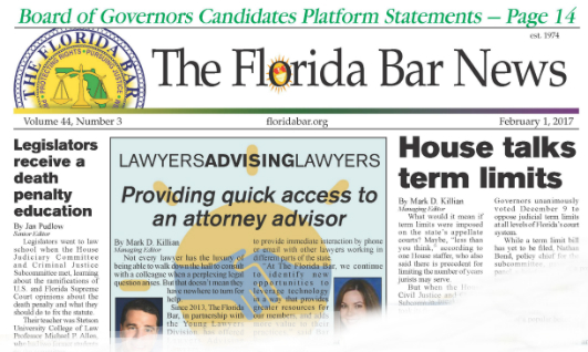 Cover of The Florida Bar News.