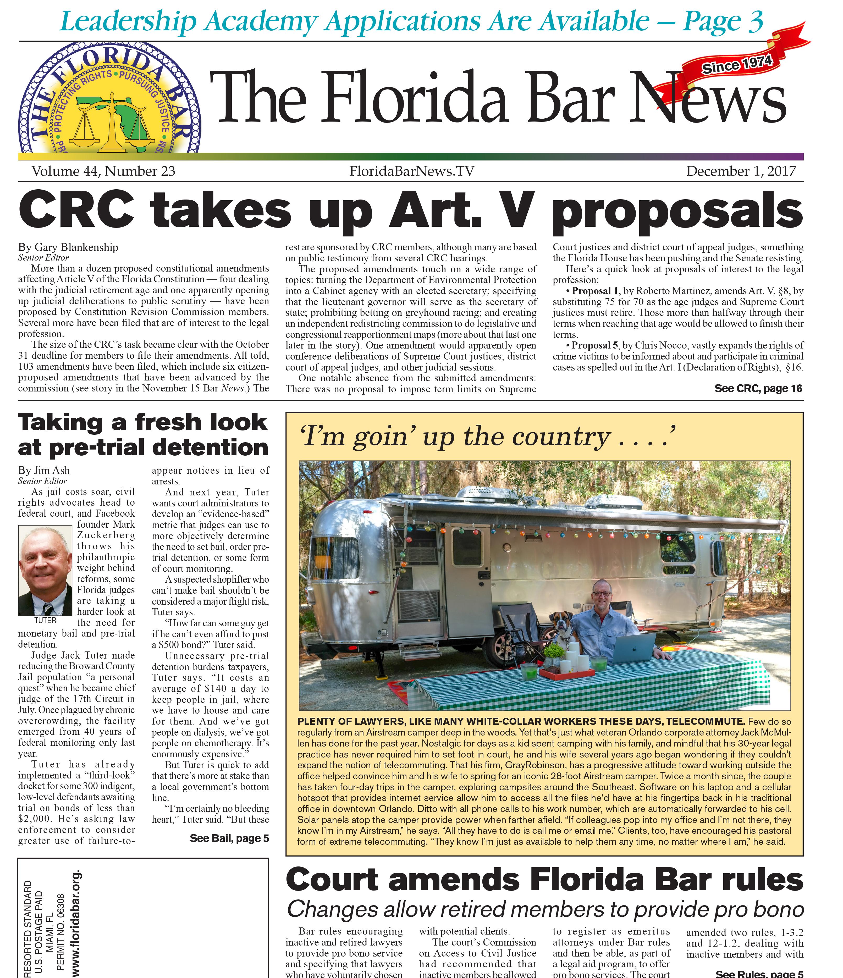 Bar News Dec. 1, 2017 Cover
