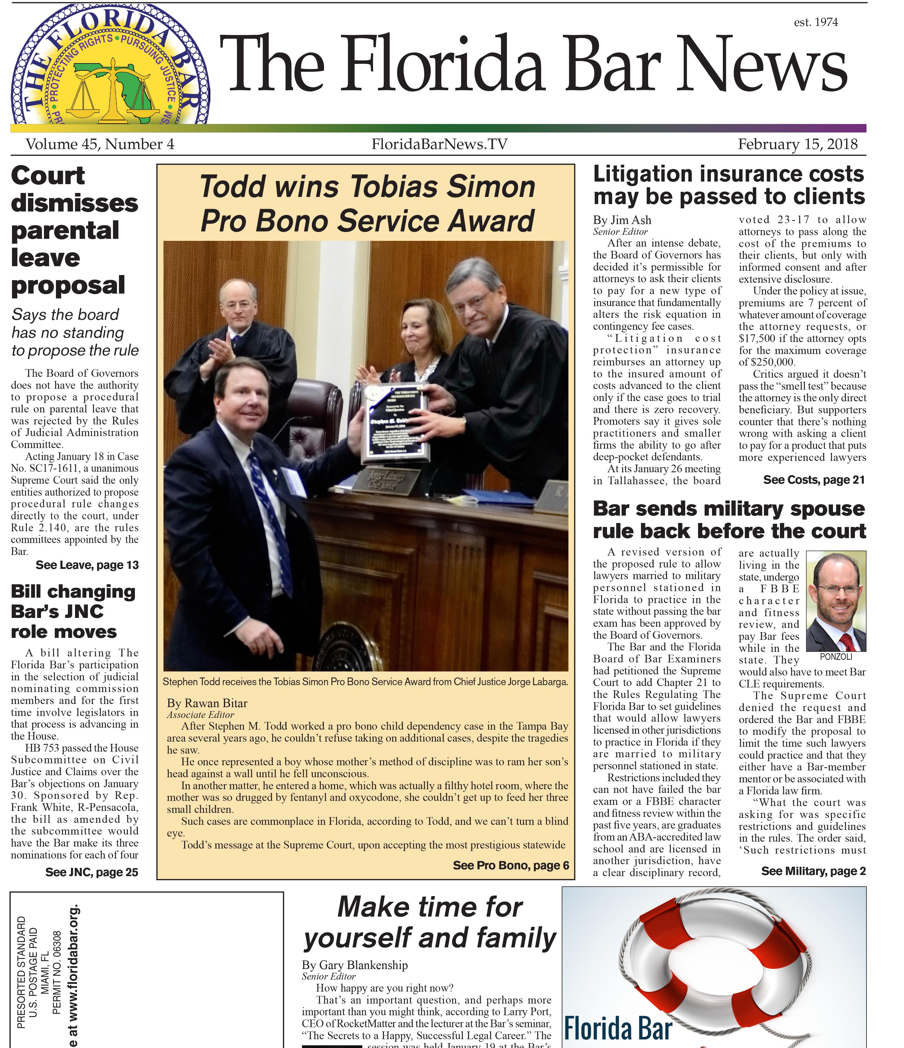 Bar News cover February 15, 2018