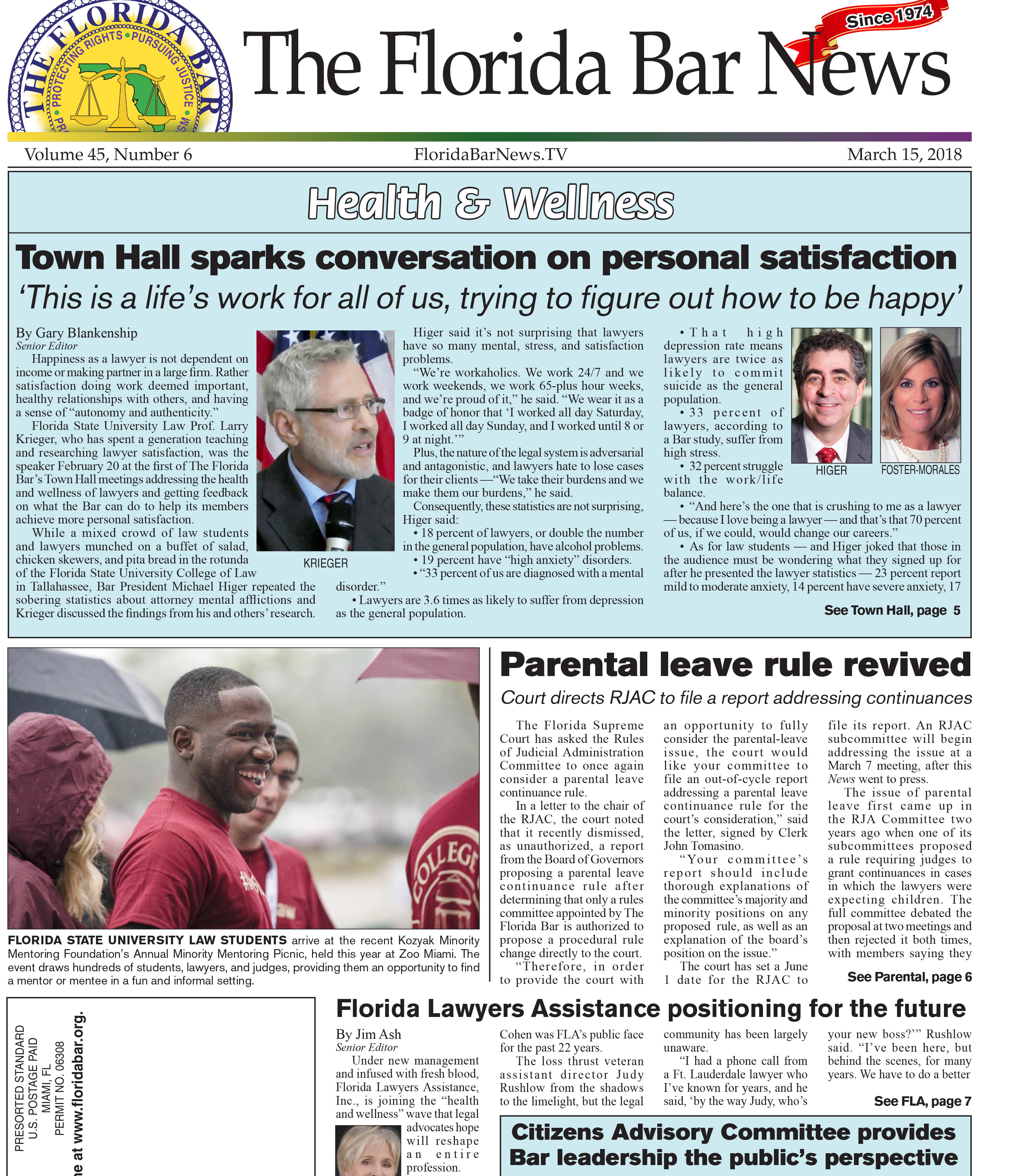 March 15, 2018 Florida Bar News Cover