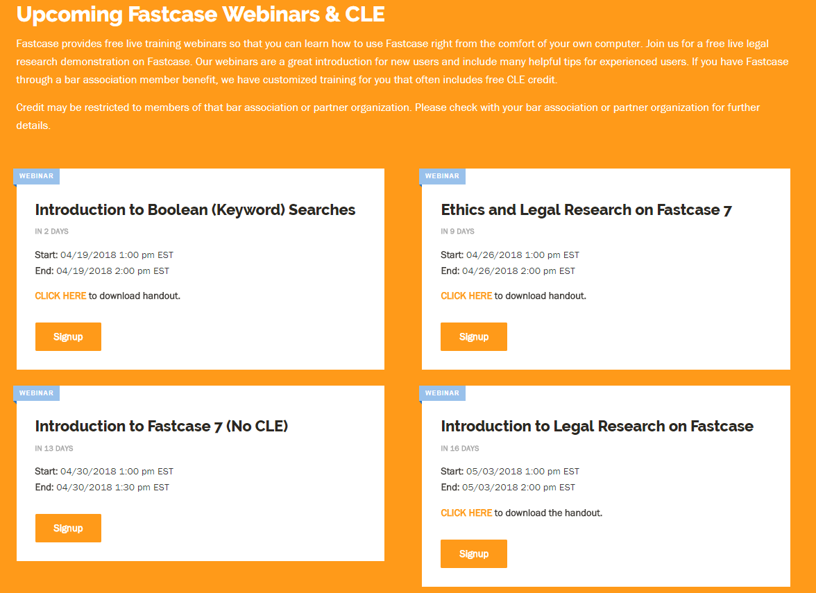Tip: Fastcase webinars on legal research