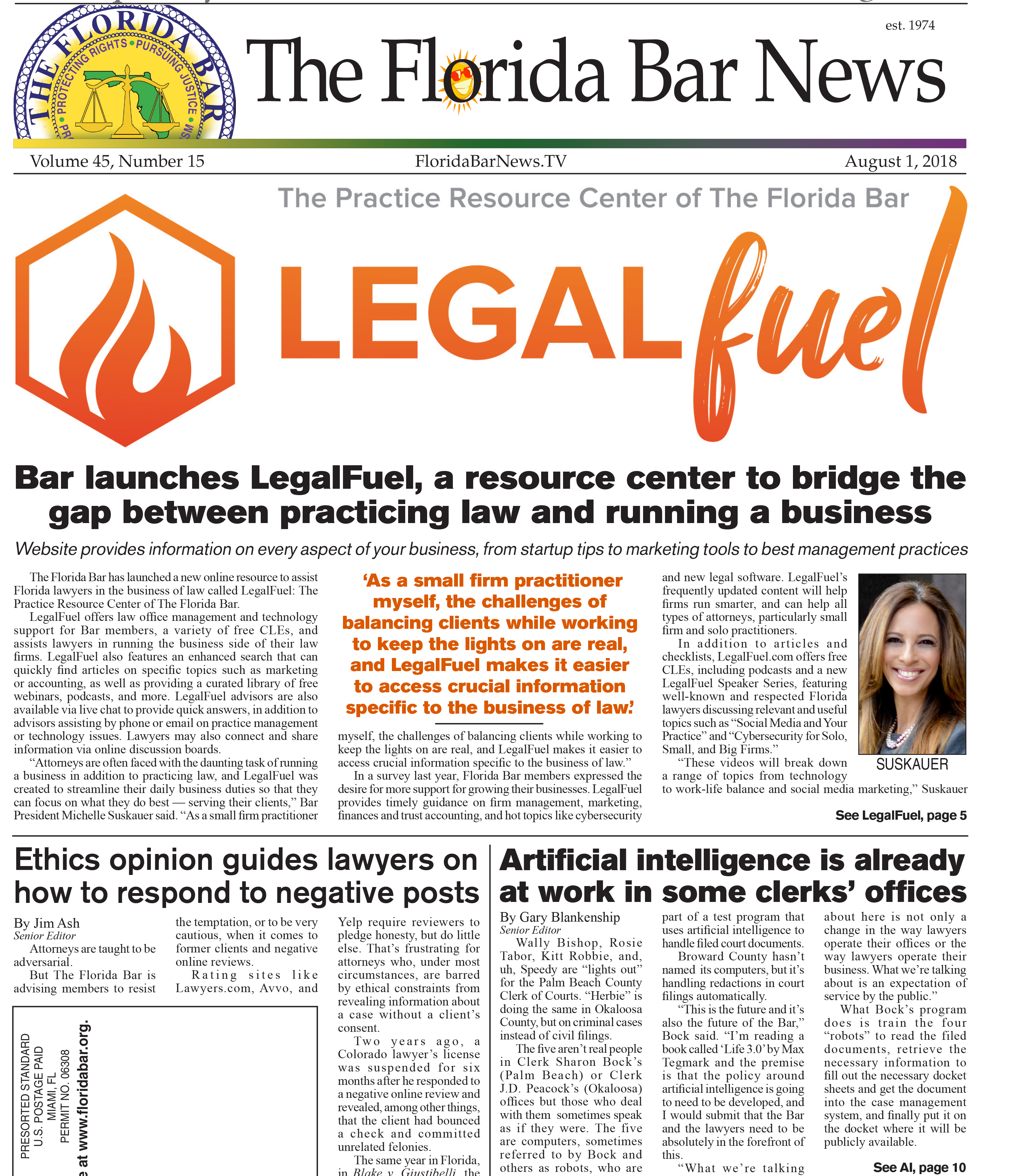 The August 1 Bar News: LegalFuel launched, Bar advises attorneys on dealing with reviews and A.I. reaches clerk's offices