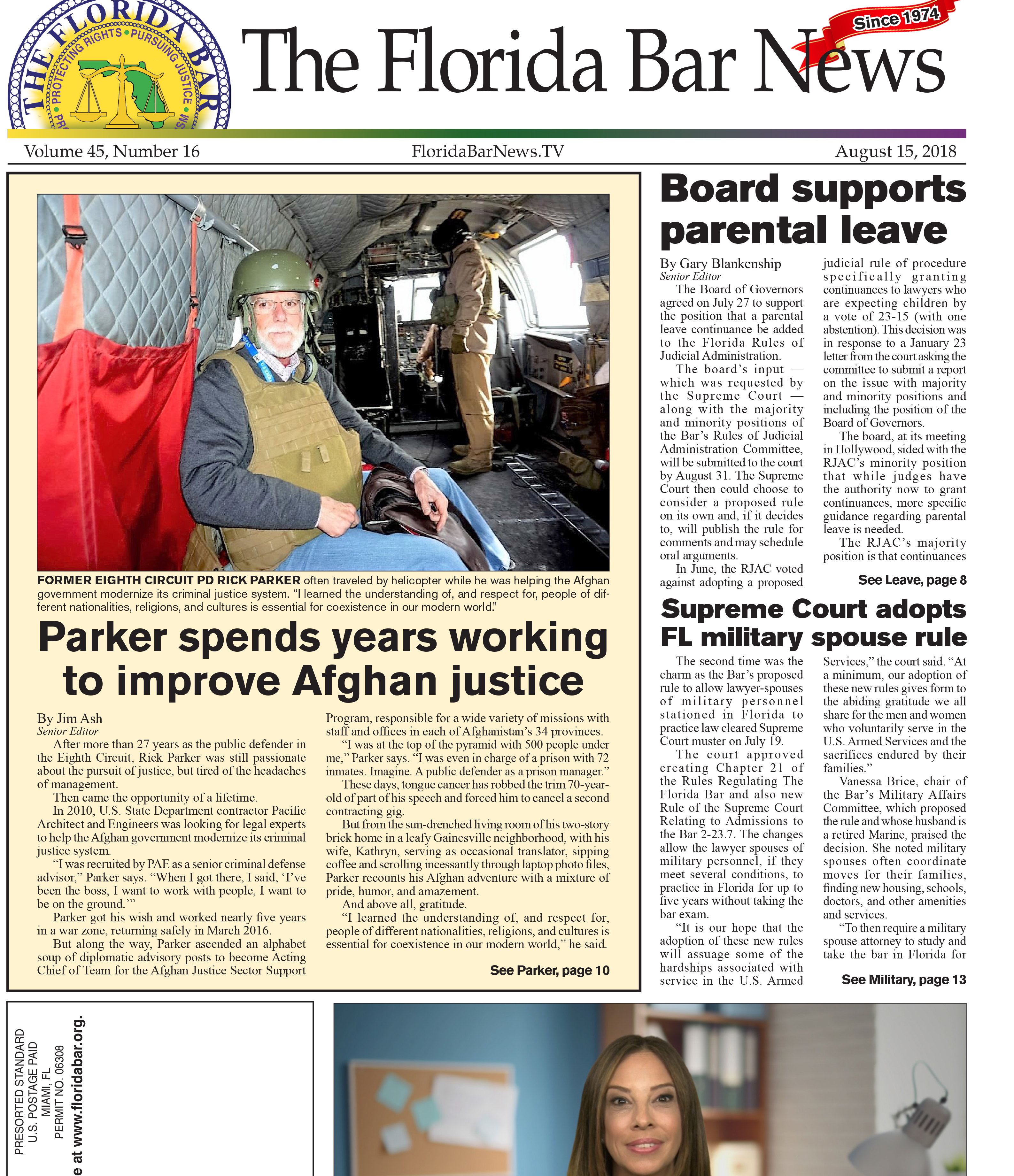 The August 15 Bar News: Parental leave continuance, military spouse rule and the work of a former public defender in Afghanistan