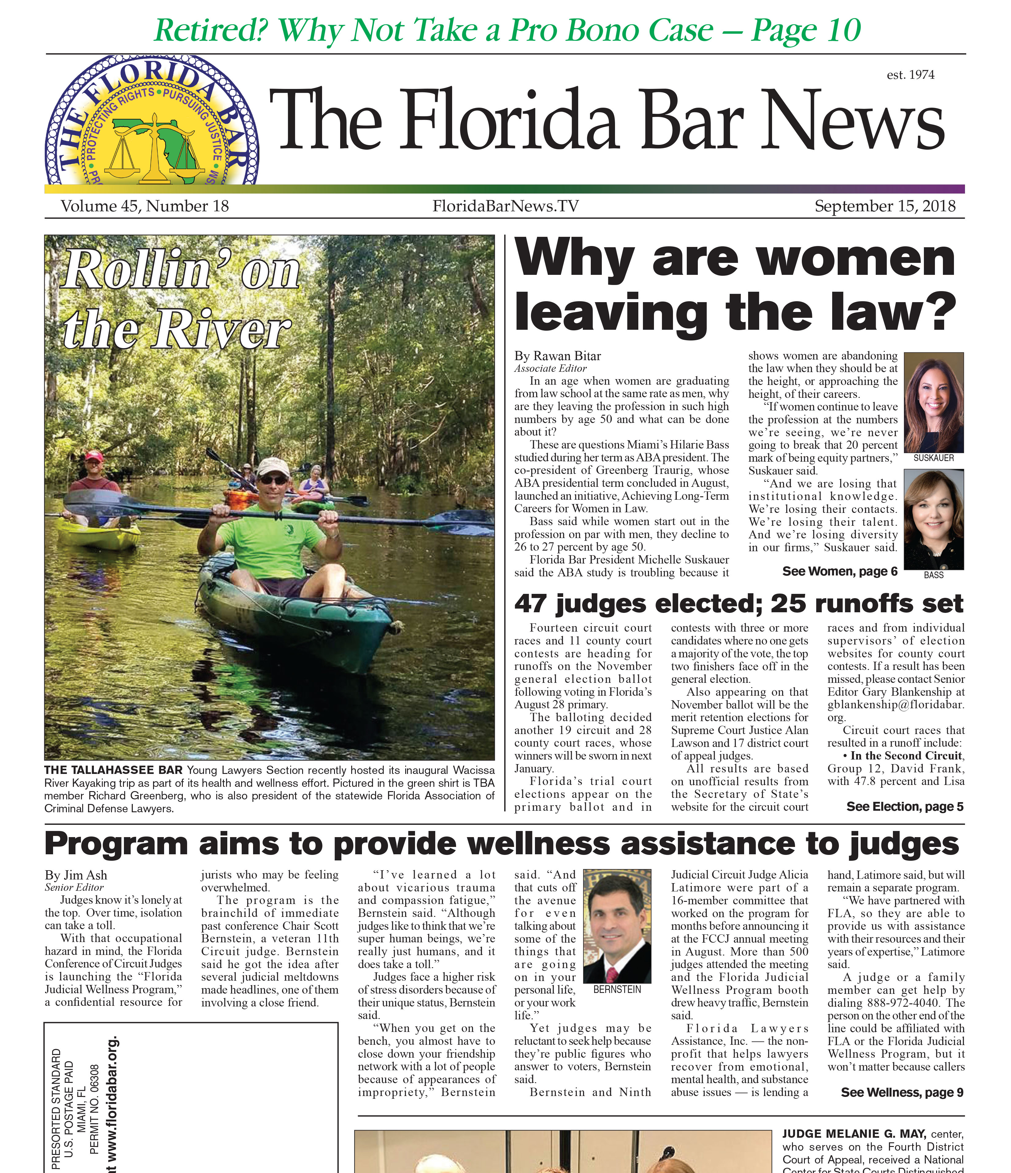 THE SEPT. 15 BAR NEWS: WOMEN LAWYERS LEAVING THE PROFESSION, A JUDICIAL WELLNESS PROGRAM AND LEGALFUEL'S SPEAKERS SERIES.