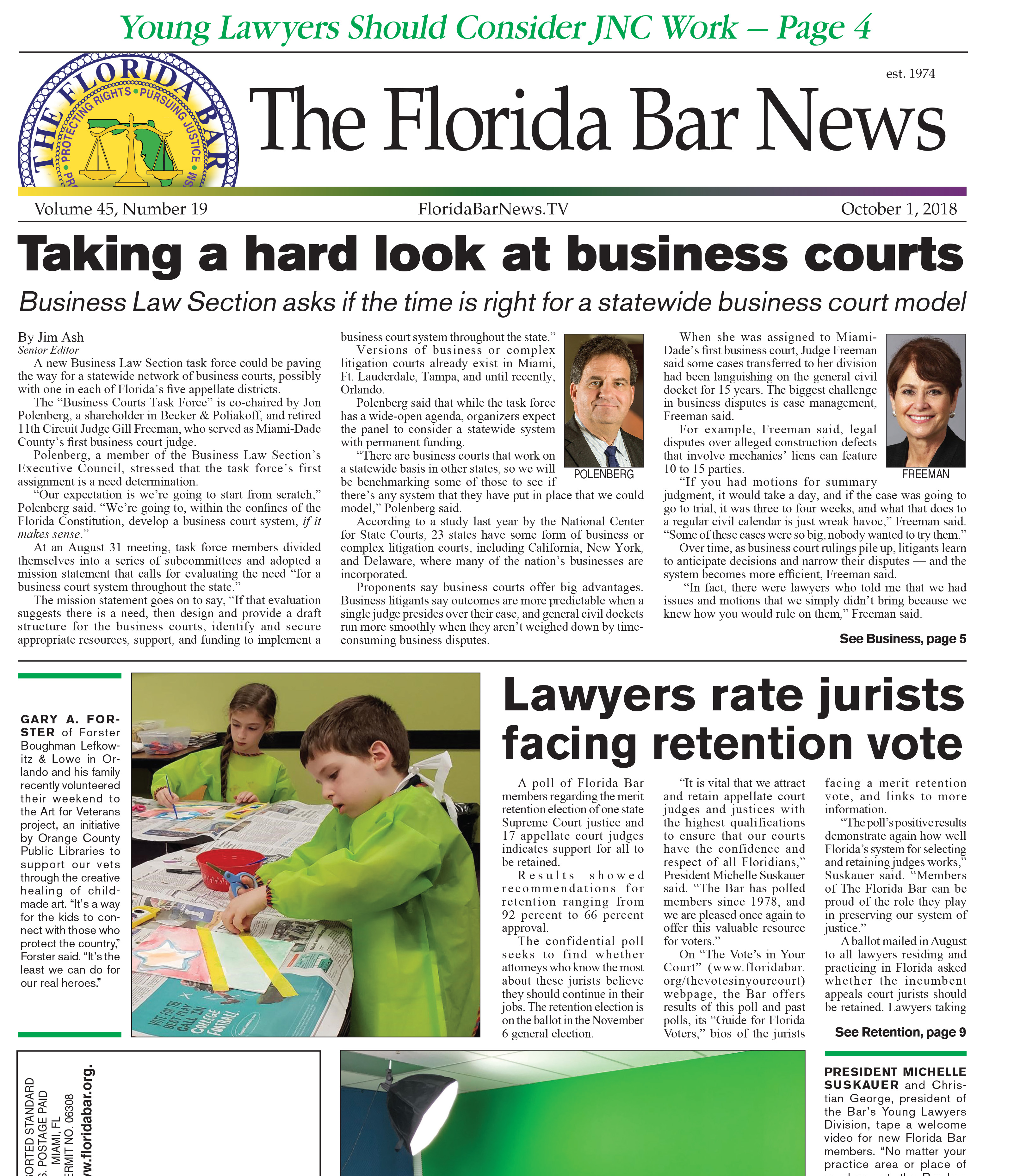 The Oct. 1 Bar News: Business Law Section study, lawyers rating jurists, young lawyers seeking appointment to JNCs