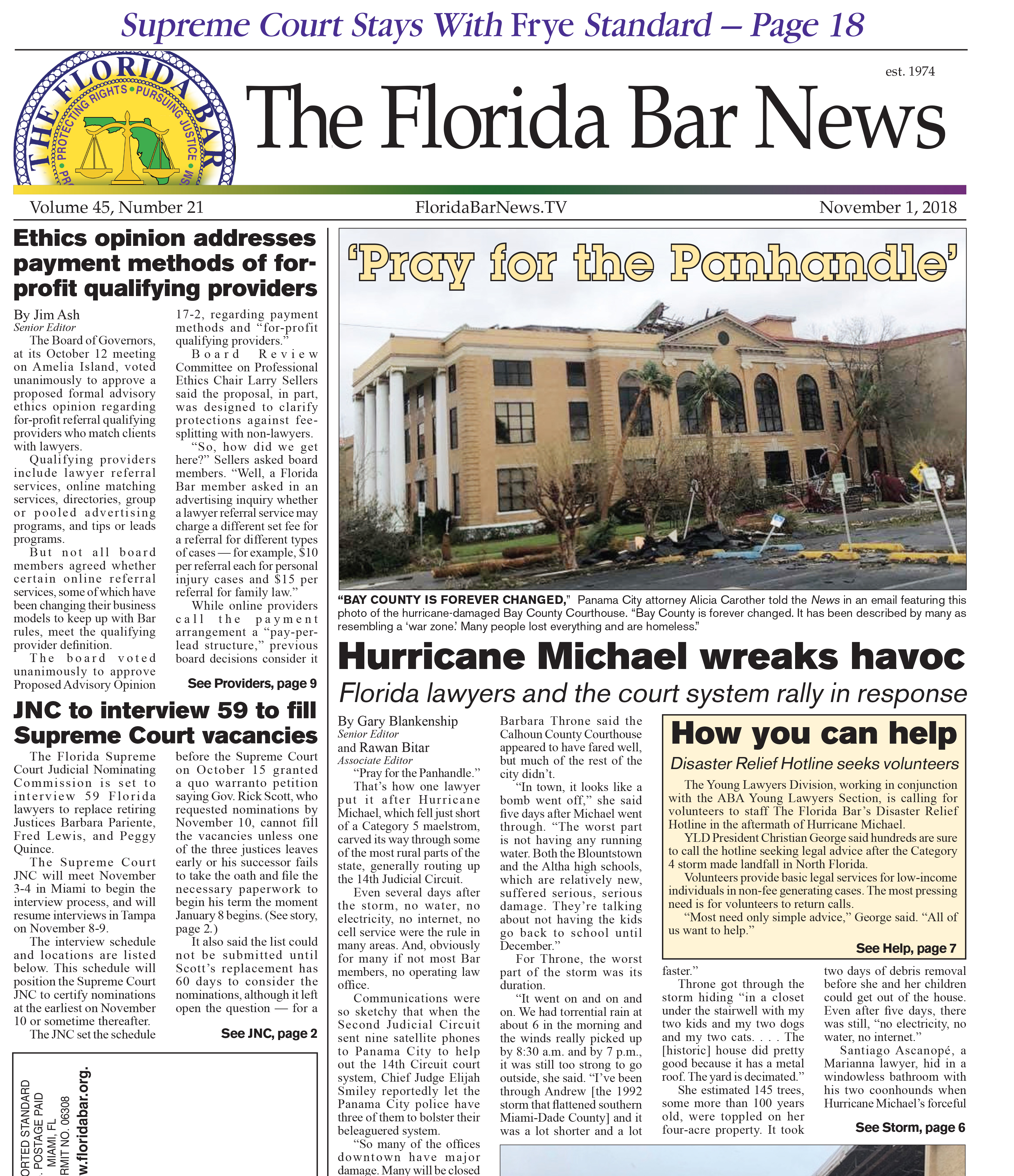 The Nov. 1 Bar News with stories including Hurricane Michael, interviews for Supreme Court vacancies and the toll of addiction on a family.