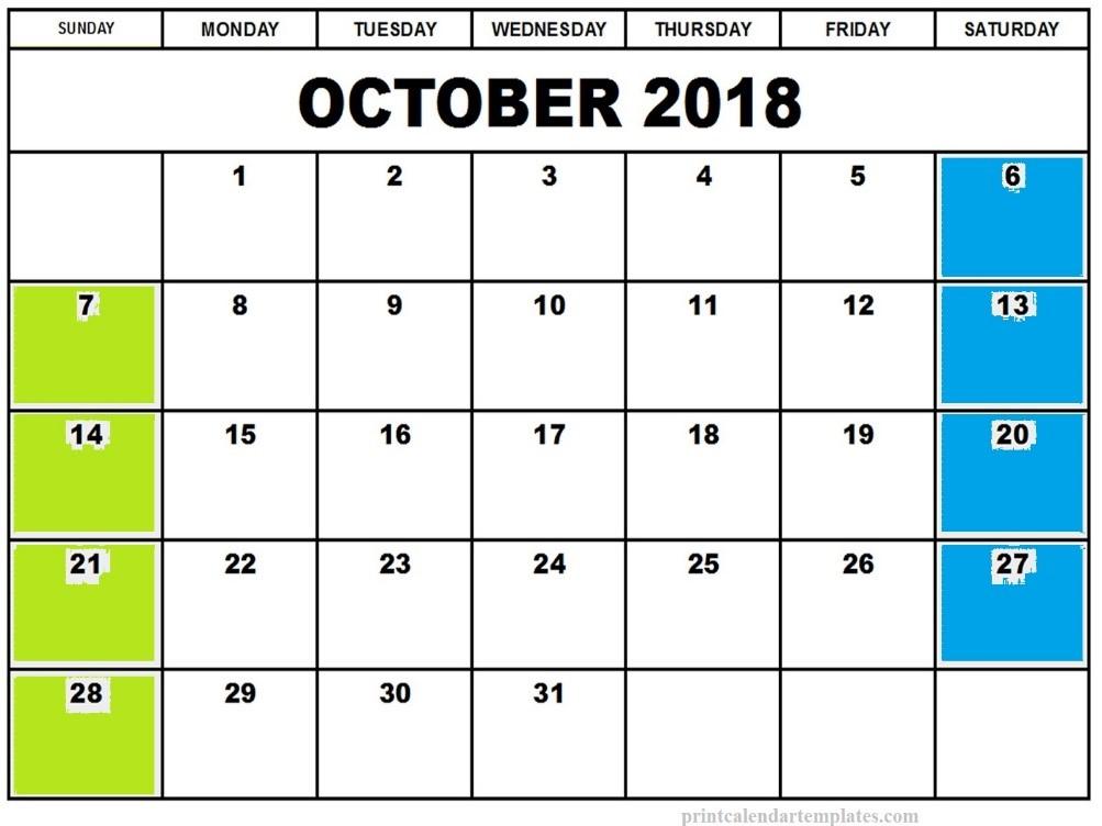 Oct. 2018 calendar