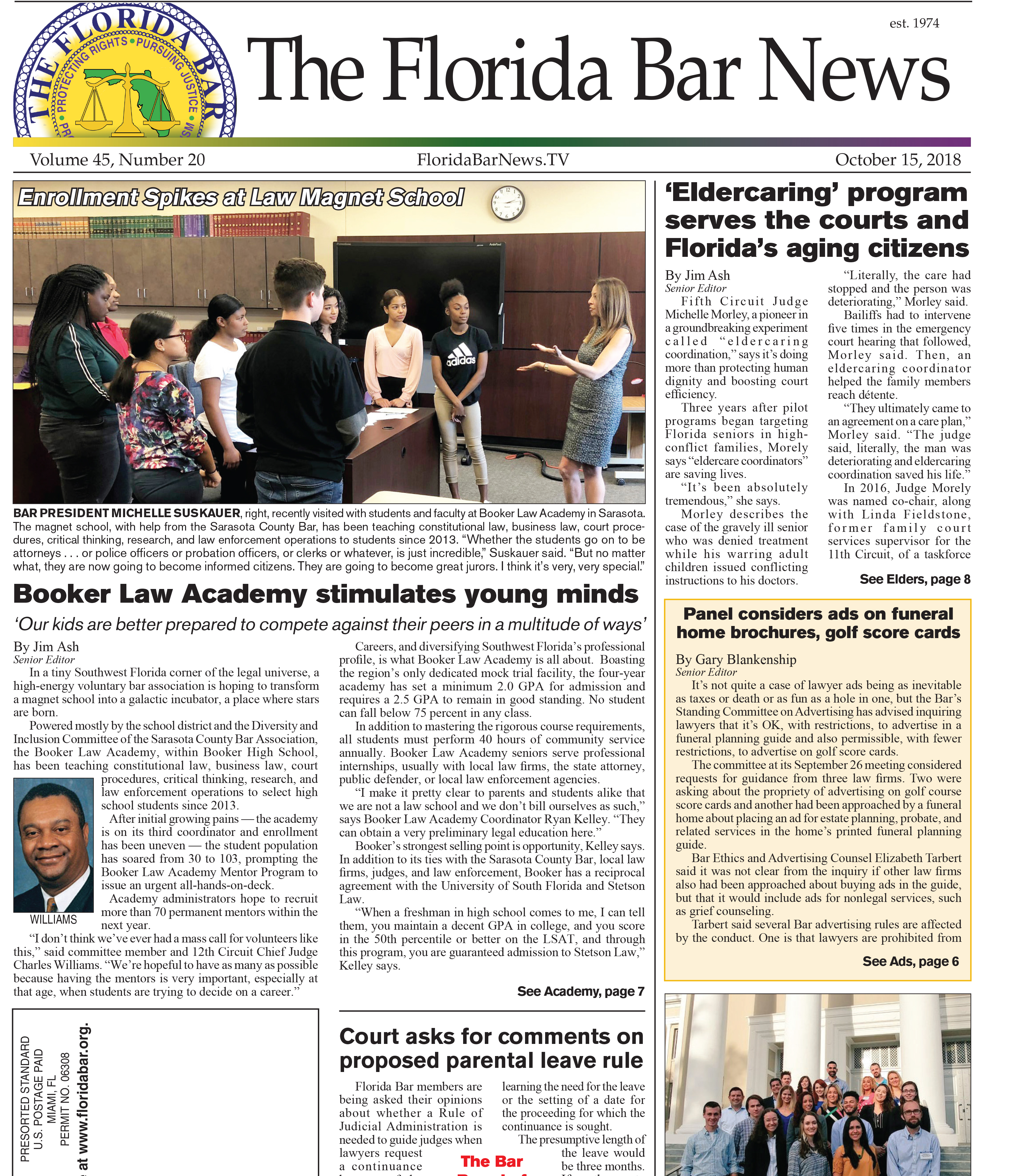 "The Oct. 15 Bar News: A law magnet school, new ""Eldercaring"" programs, and comments requested on proposed parental leave rule."