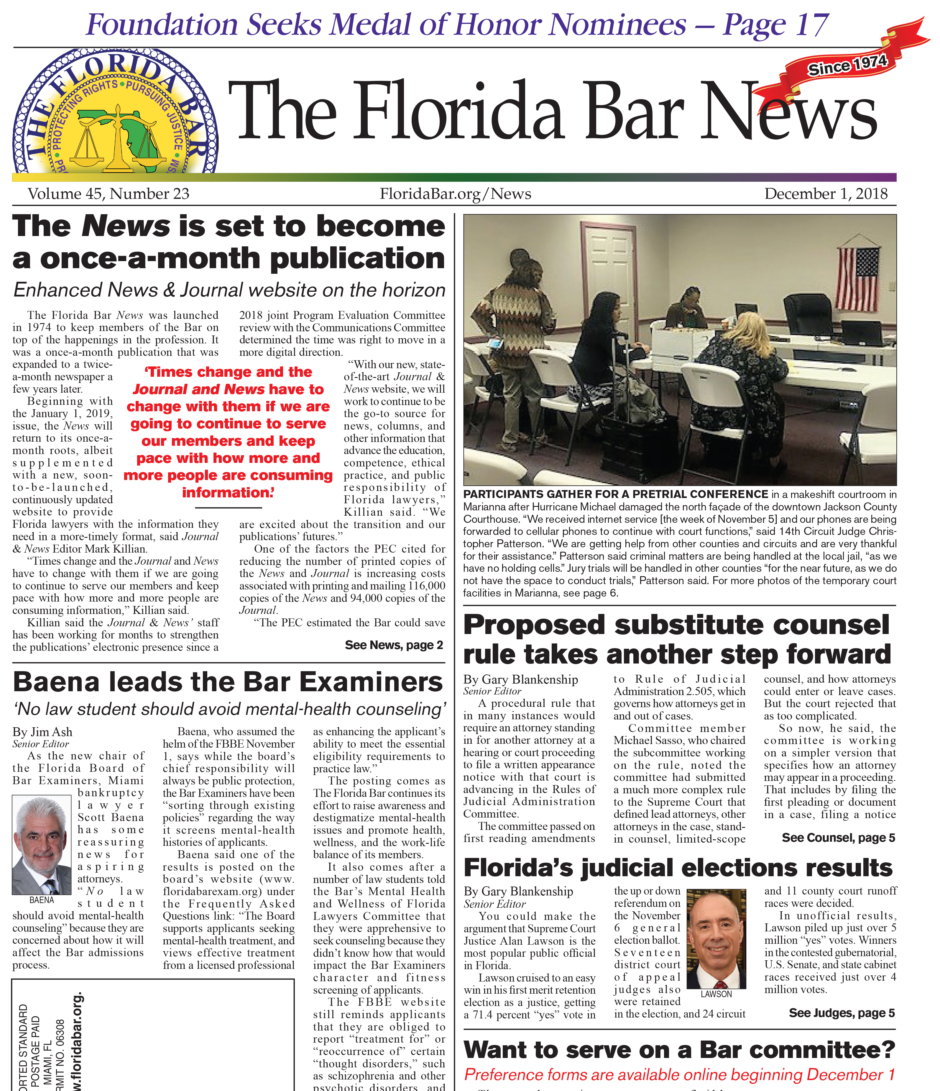 The Dec. 1 Bar News: Bar Examiners chair promotes mental-health counseling, annual committee preference forms available Dec. 1, Bar News is set to become a once-a-month publication
