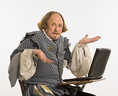 Photo of Shakespeare with laptop by iStock.com/iofoto