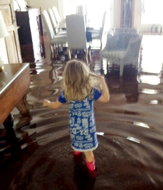 The daughter of YLD board member Web Melton needed rain boots to make her way through the home of YLD President-elect Christian George on the St. John's River in Jacksonville