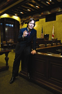 Actors-at-Law's Marc Brumer in historic Miami courtroom./ photo by Donna Victor