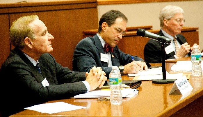 KENDALL COFFEY, from the left, Ben Kuehne, and James Bopp/Photo by Jenkins Chan, St. Thomas Law Review Managing Editor