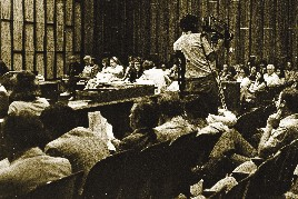 A TV CAMERAMAN works the 1977 Ronnie Zamora murder trial in Miami, which helped pave the way for acceptance of cameras in the courtroom.