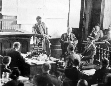 FAMED AVIATOR Charles Lindberg testifies at the 1935 trial of Bruno Hauptmann for the kidnapping and murder of his infant son. Over 800 news reporters and photographers, as well as about 20,000 spectators, surrounded the courthouse in the New Jersey