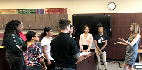 Bar President Michelle Suskauer and Booker Law Academy students