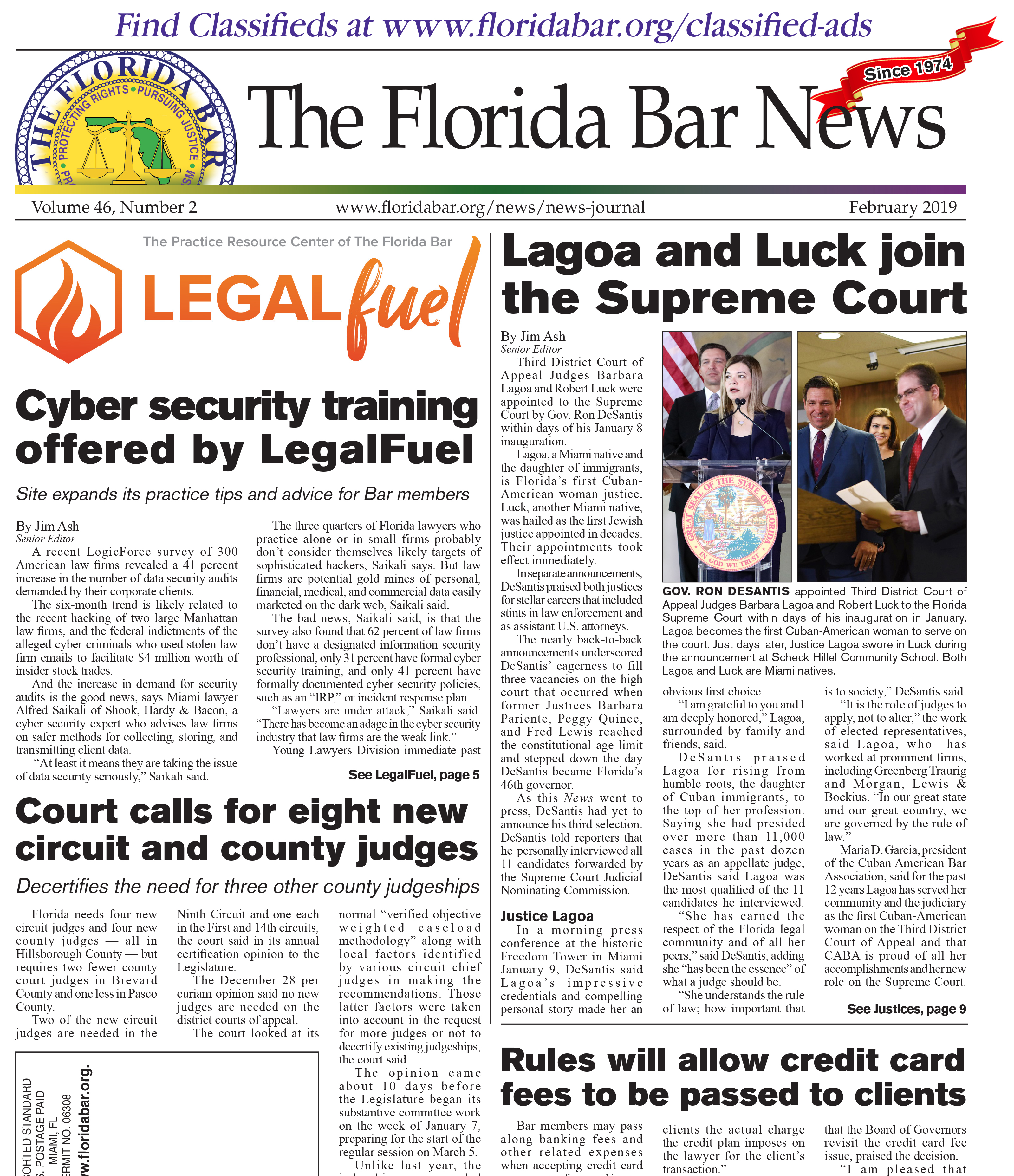 The Florida Bar News February 2019 Cover