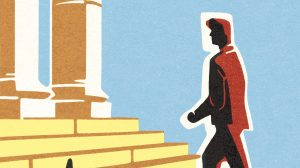 Illustration of man walking up courthouse steps