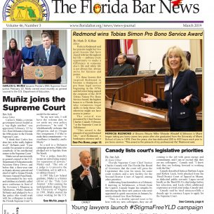 The March Bar News: Tobias Simon Pro Bono Service Award, Canady listing the court's legislative priorities and the YLD launches its #StigmaFreeYLD campaign