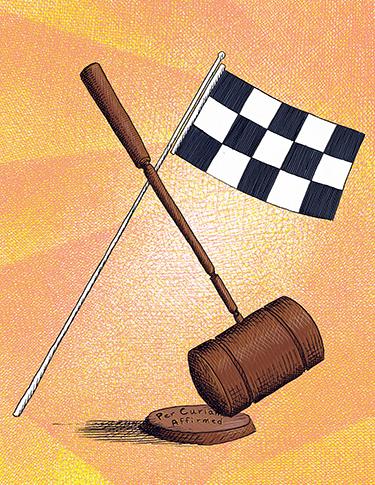 Illustration of gavel and checkered flag