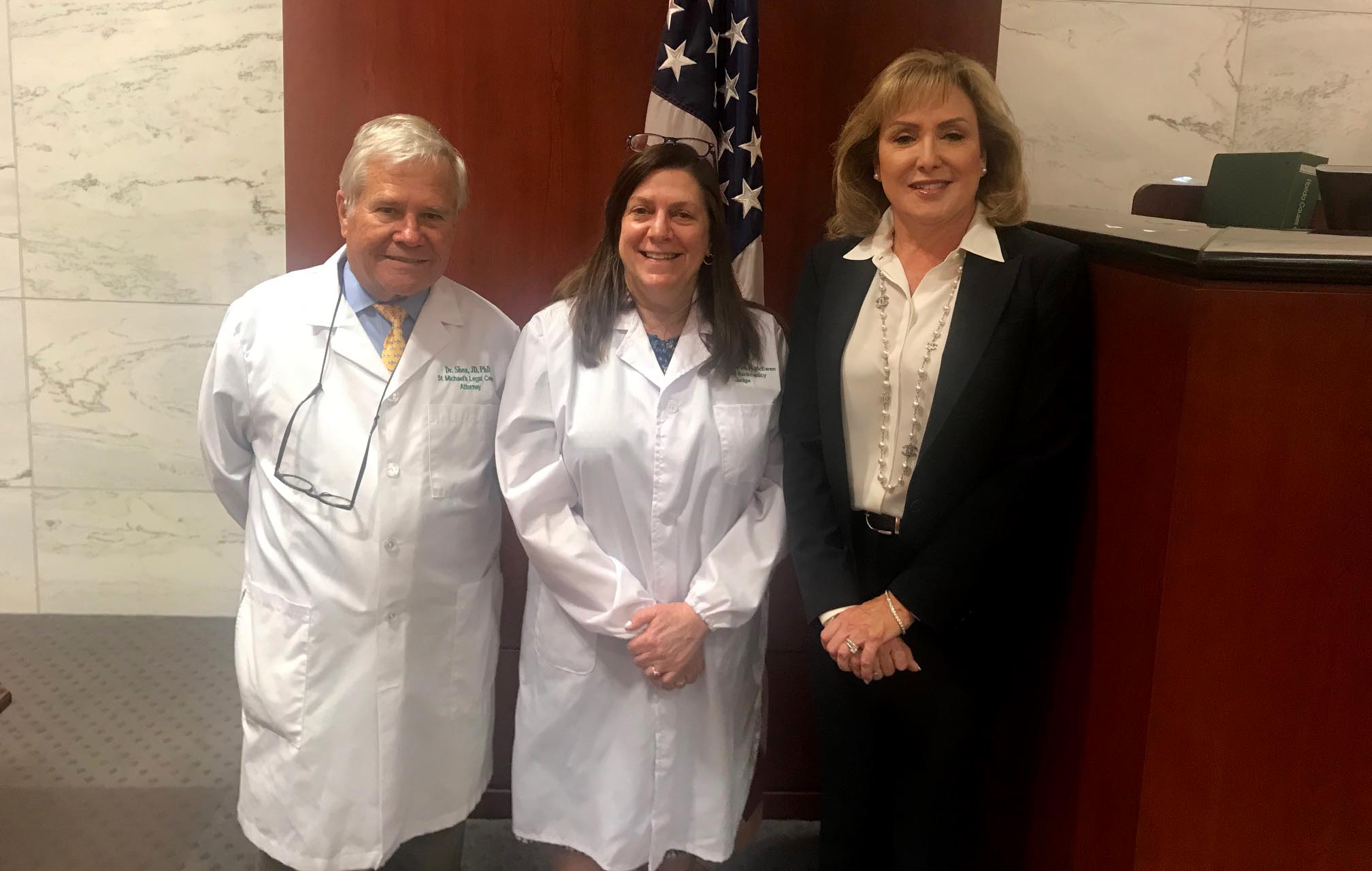 Michael Shea, Judge Catherine McEwen, and Kathleen McLeroy