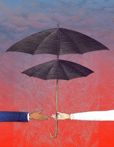 Illustration of umbrellas