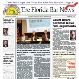 THE OCTOBER BAR NEWS: Parental leave rule arguments, federal nominations for Lagoa and Luck, and mental health in the criminal justice system