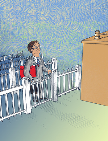 Illustration of expert witness behind fence