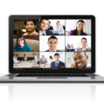 Zoom meeting on laptop screen