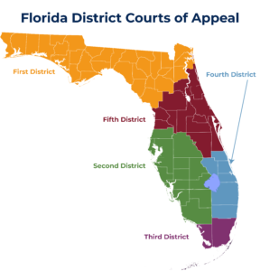 Map that shows which counties are in which District Court of Appeals