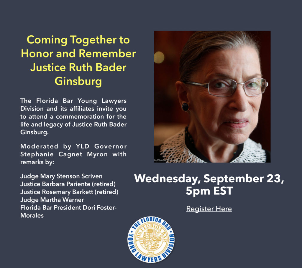 YLD to honor Justice Ginsburg at a 5 p.m. webinar Wednesday