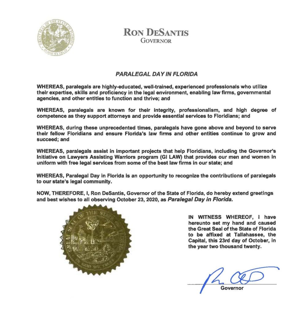 Letter declaring Oct. 23 Florida Paralegal Day