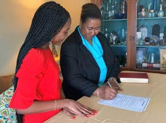 Allana Smith was sworn in by her mother, Darlene Smith