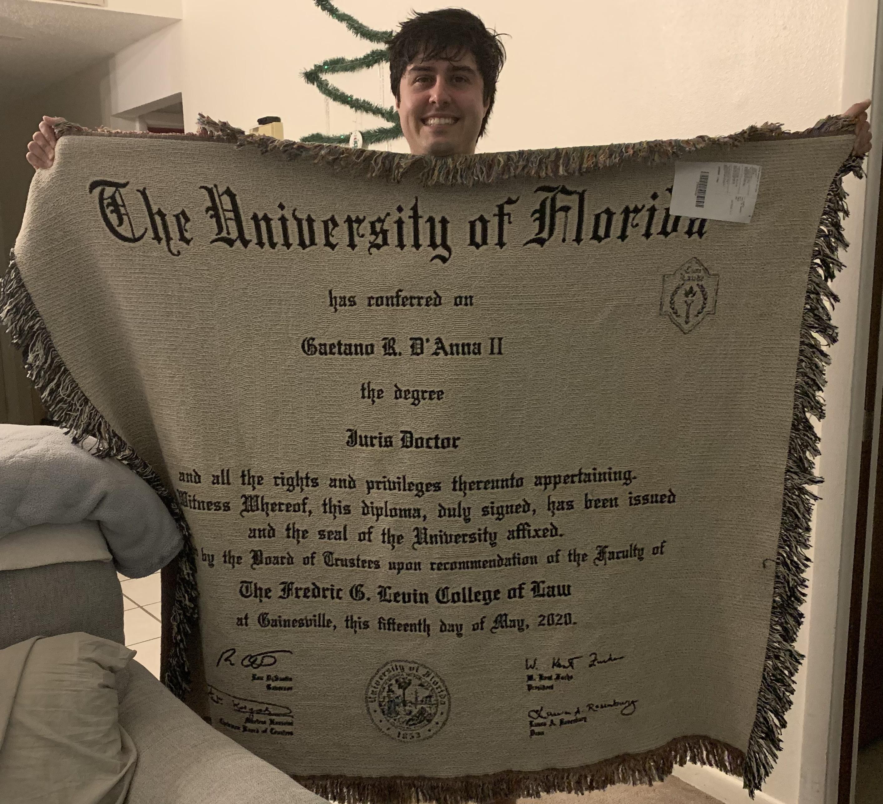 UF Law Diploma Blanket - Gaetano D'Anna