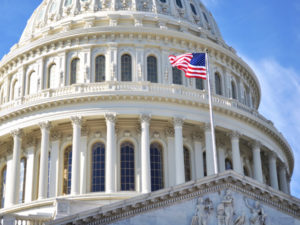 Capitol Hill Building closeup shot, Washington DC.