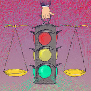 Illustration of stoplight and scales of justice
