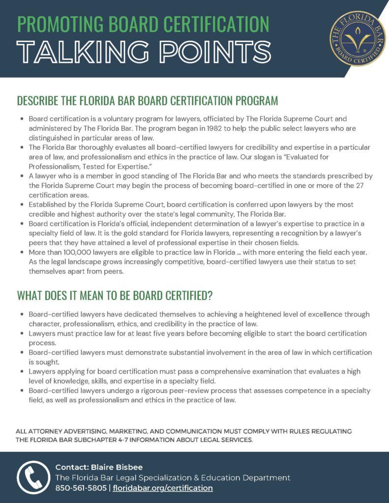 Talking points for promoting Florida Bar Board Certification