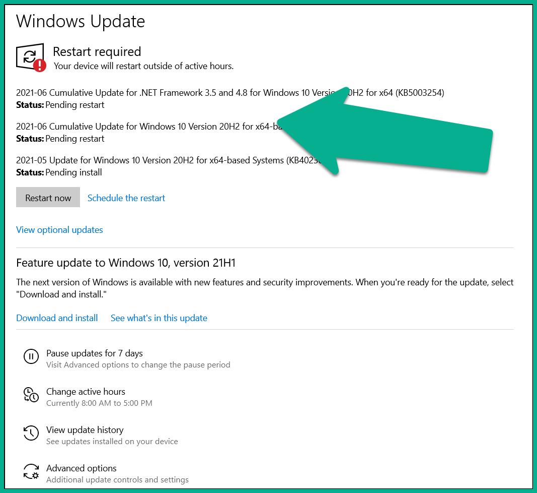 Photo showing Windows Update restarts required