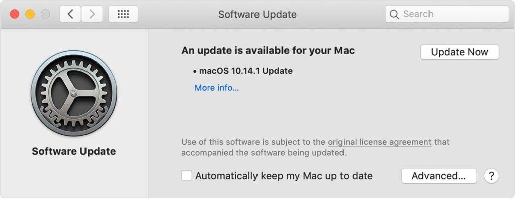 Software update alert on a Mac