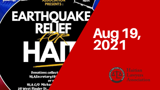 Haitian Lawyers Association's August 19 Zoom event to raise funds for earthquake relief