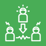 Icon showing three stick figures in mediation
