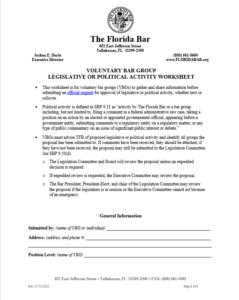 Legislative or Political Activity Request Worksheet