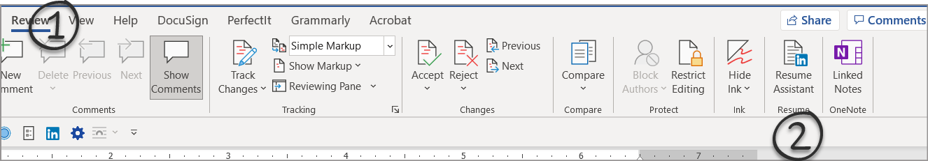 Resume Assistant toolbar