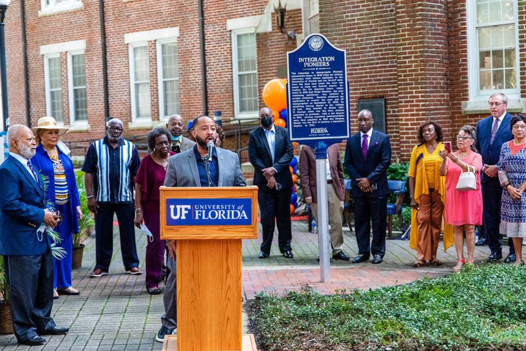 University of Florida honors integration pioneers Hawkins, Starke, Allen, and Mickle with historical marker