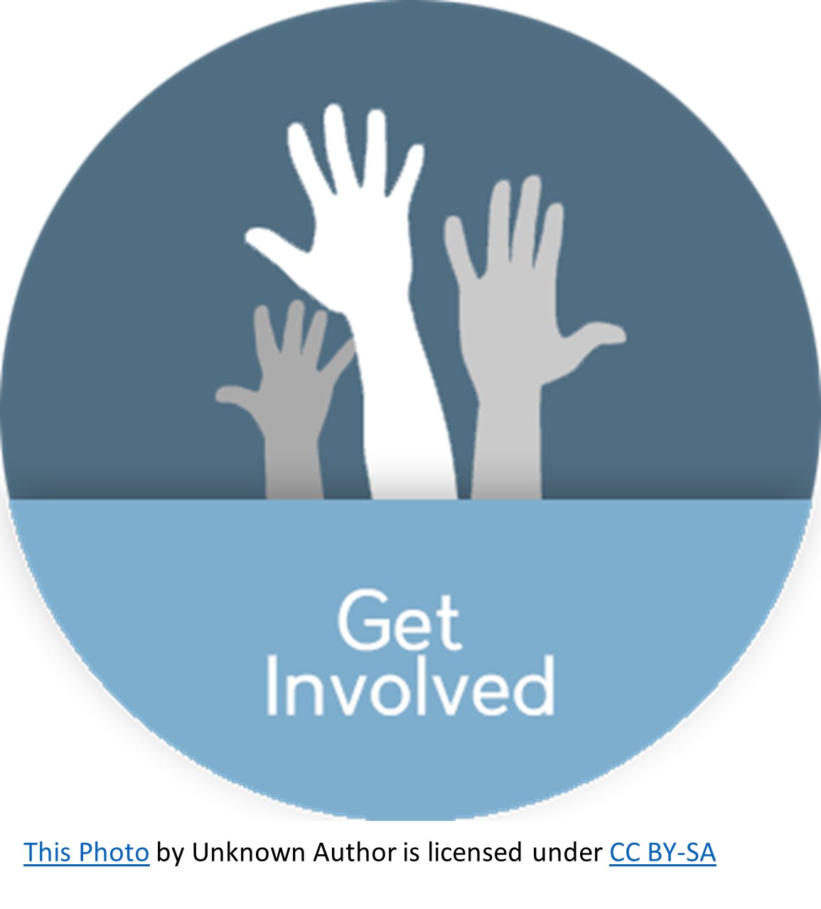 Hands raised to show involvement