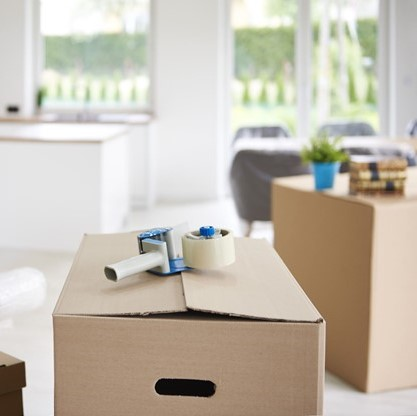 Moving boxes and packing tape