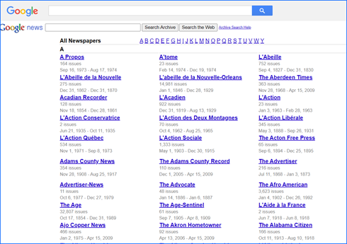 A list of newspapers archived on Google News